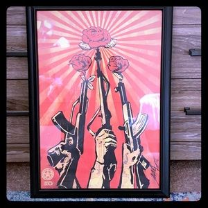 Obey hand signature framed art